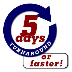 5 day turnaround or faster logo